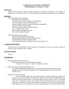 Commission on the Status of Minorities Meeting Minutes: October 21, 2014