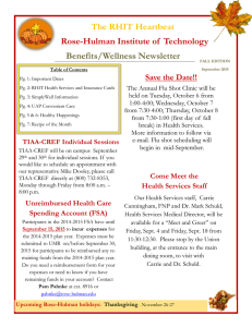 The RHIT Heartbeat Rose-Hulman Institute of  Technology Benefits/Wellness Newsletter Save the Date!!