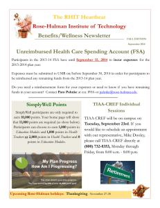 The RHIT Heartbeat Rose-Hulman Institute of  Technology Benefits/Wellness Newsletter
