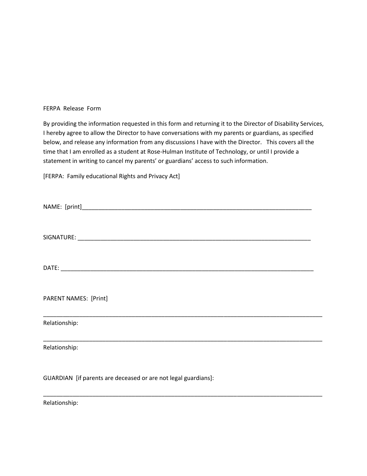 ferpa form for parents  FERPA Release Form