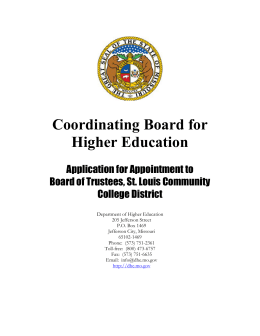 Coordinating Board for Higher Education  Application for Appointment to