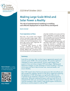 Making Large-Scale Wind and Solar Power a Reality CGD Brief October 2013