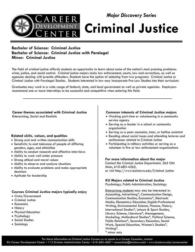 Criminal Justice Major Discovery Series