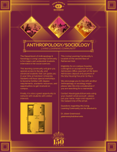 ANTHROPOLOGY/SOCIOLOGY ku LIVING LEARNING COMMUNITY