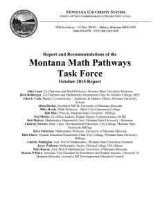 Montana Math Pathways Task Force  Report and Recommendations of the