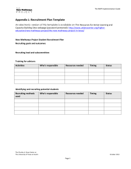 Appendix L: Recruitment Plan Template