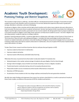 Academic Youth Development: Promising Findings and District Snapshots A Briefing for Educators