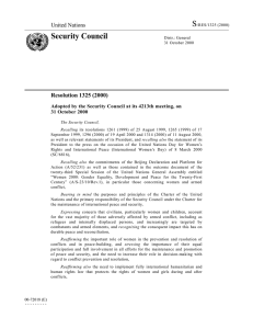 S Security Council United Nations Resolution 1325 (2000)