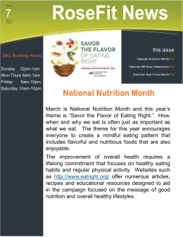 "March  is  National  Nutrition  Month ... theme  is  ""Savor  the  Flavor ..."