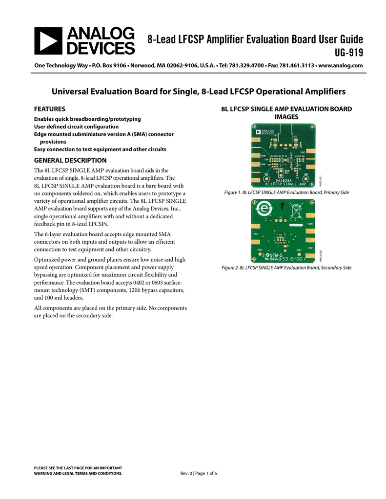8 Lead Lfcsp Amplifier Evaluation Board User Guide Ug 919 Futurlec The Electronic Components And Semiconductor Superstore