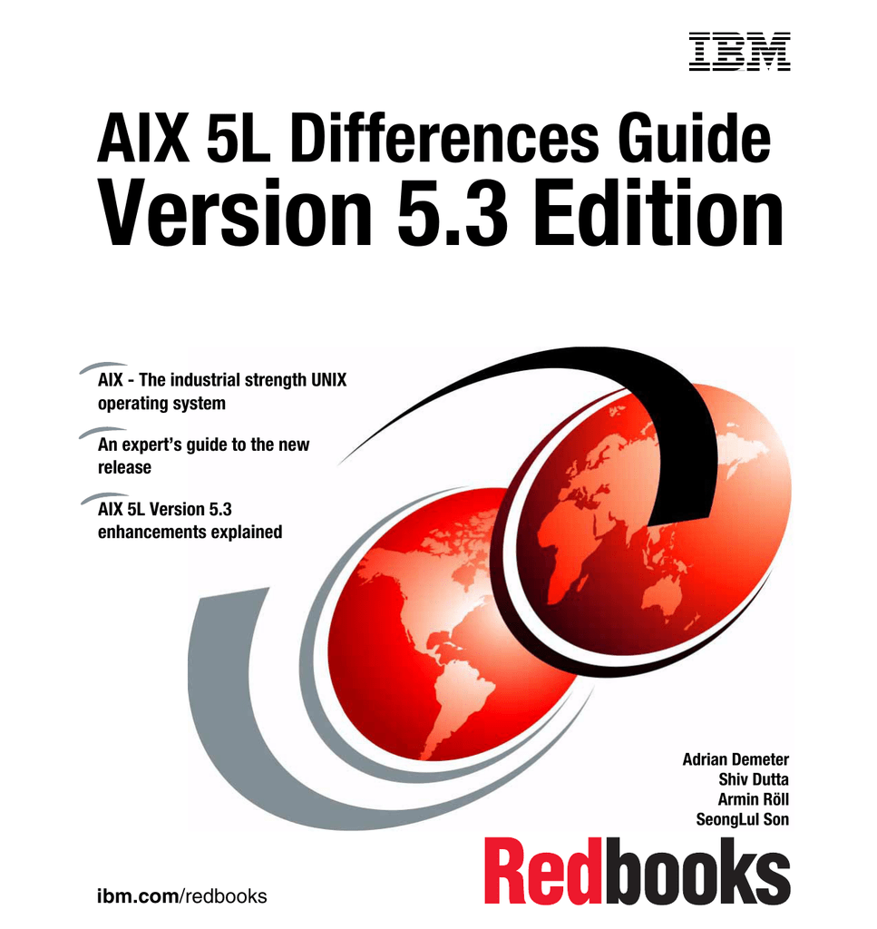 Version 5 3 Edition AIX 5L Differences Guide Front cover