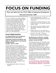 FOCUS ON FUNDING November-December 2008