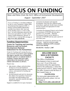 FOCUS ON FUNDING August - September 2007