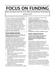 FOCUS ON FUNDING January 2007