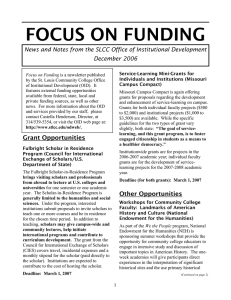 FOCUS ON FUNDING December 2006