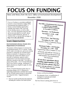 FOCUS ON FUNDING November 2006