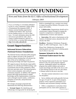 FOCUS ON FUNDING February 2005