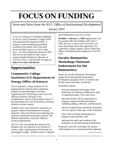 FOCUS ON FUNDING January 2005