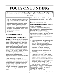 FOCUS ON FUNDING May 2003