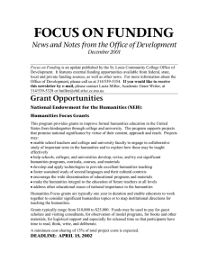 FOCUS ON FUNDING News and Notes from the Office of Development
