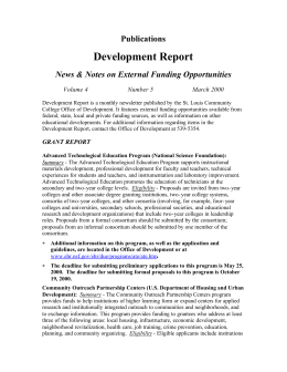 Development Report Publications News & Notes on External Funding Opportunities Volume 4