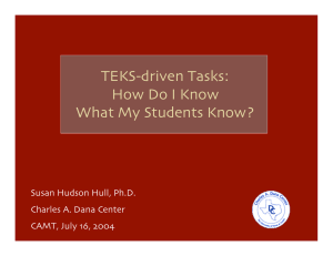 TEKS-driven Tasks: How Do I Know What My Students Know?