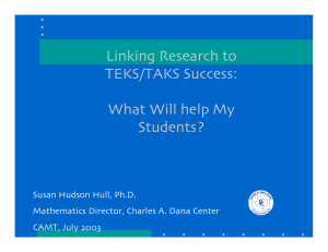 Linking Research to TEKS/TAKS Success: What Will help My Students?