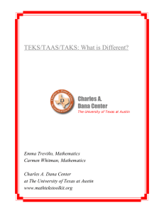 TEKS/TAAS/TAKS: What is Different? Charles A. Dana Center