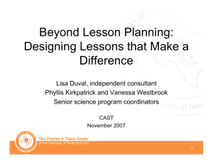 Beyond Lesson Planning: Designing Lessons that Make a Difference
