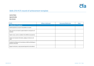 Skills CFA PLTS record of achievement template PLTS Where Achieved Outcome/Reflection