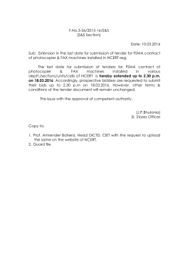 F.No.3-36/2015-16/S&S (S&S Section) Date: 10.03.2016