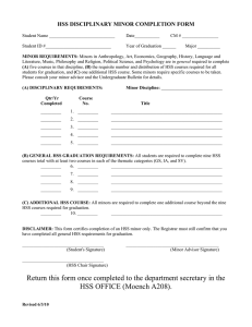 HSS DISCIPLINARY MINOR COMPLETION FORM