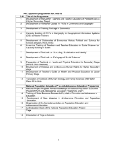 PAC approved programmes for 2012-13 S.N.  Title of the Programme