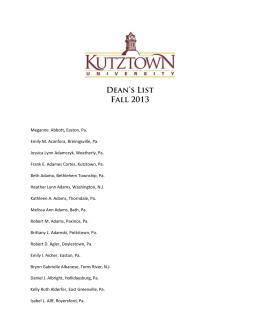 Dean's List Fall 2013