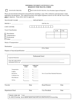 REQUEST FOR TRAVEL FORM