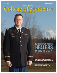 College of Medicine HEALERS IN THEIR OWN WORDS IN THE MILITARY