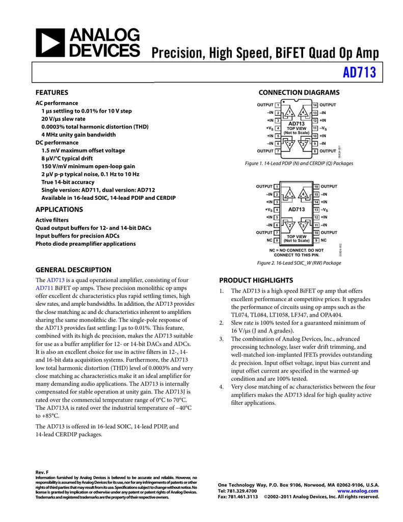 Precision High Speed Bifet Quad Op Amp Ad713 Features Circuit Diagram Amplifiercircuit