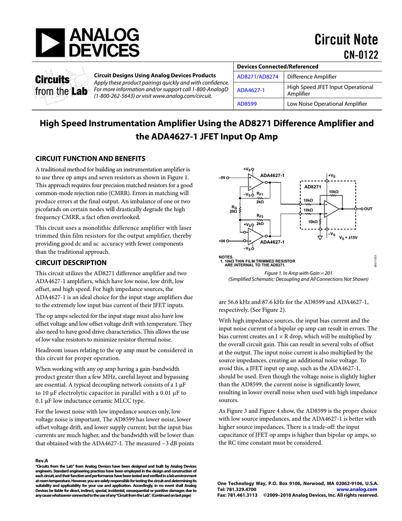 Circuit Note Cn 0122 These Circuits Work Best With A High Slew Rate Opamp Such As