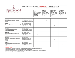 COLLEGE OF BUSINESS - - MBA SCHEDULE SPRING 2016