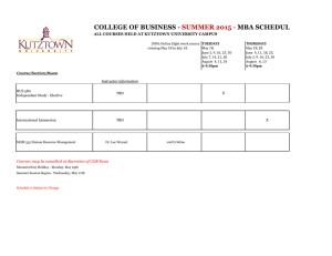 COLLEGE OF BUSINESS - MBA SCHEDUL SUMMER 2015 -