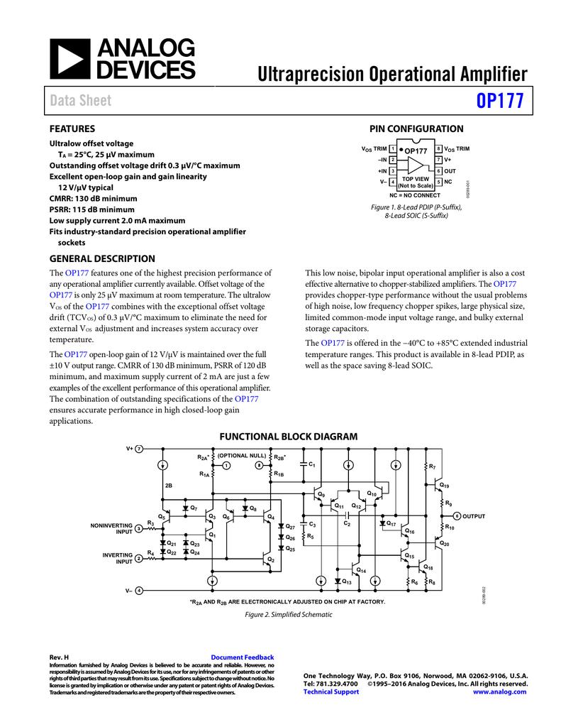 ultraprecision operational amplifier op177 data sheet features rh studylib net