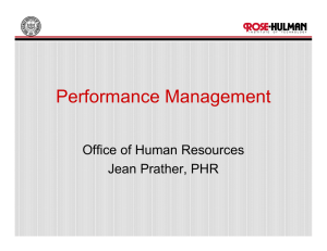 Performance Management Office of Human Resources Jean Prather, PHR