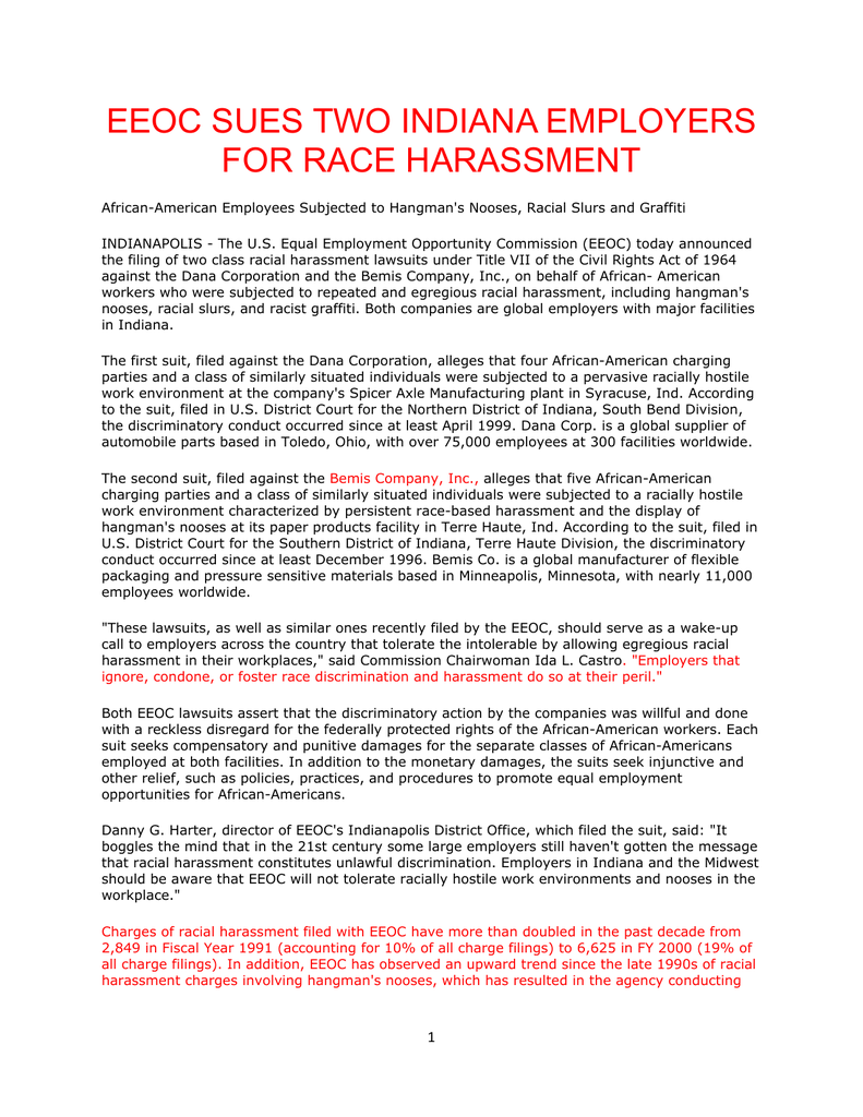 eeoc sues two indiana employers for race harassment