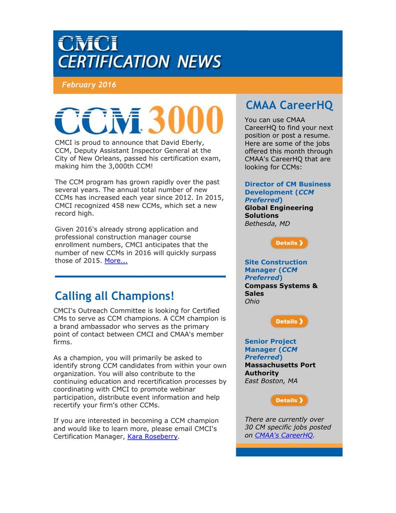 Cmaa Careerhq February 2016