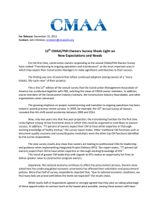 12 CMAA/FMI Owners Survey Sheds Light on New Expectations and Needs