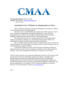 Anna Brent Is New VP/Finance & Administration at CMAA