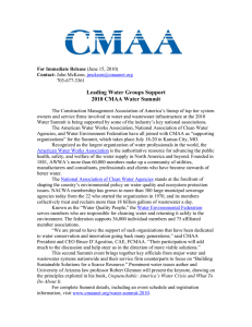 Leading Water Groups Support 2010 CMAA Water Summit