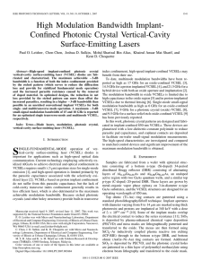 High Modulation Bandwidth Implant- Confined Photonic Crystal Vertical-Cavity Surface-Emitting Lasers