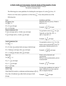 A Study Guide on Convergence Tests for Series of Non-negative...