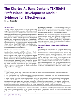 The Charles A. Dana Center's TEXTEAMS Professional Development Model: Evidence for Effectiveness Introduction
